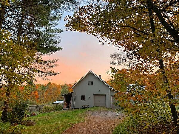 Barn with fall leaves