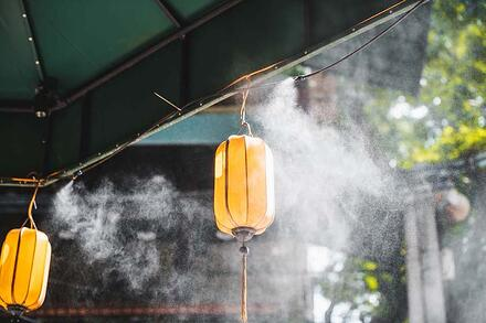 Evaporating mist cools the area