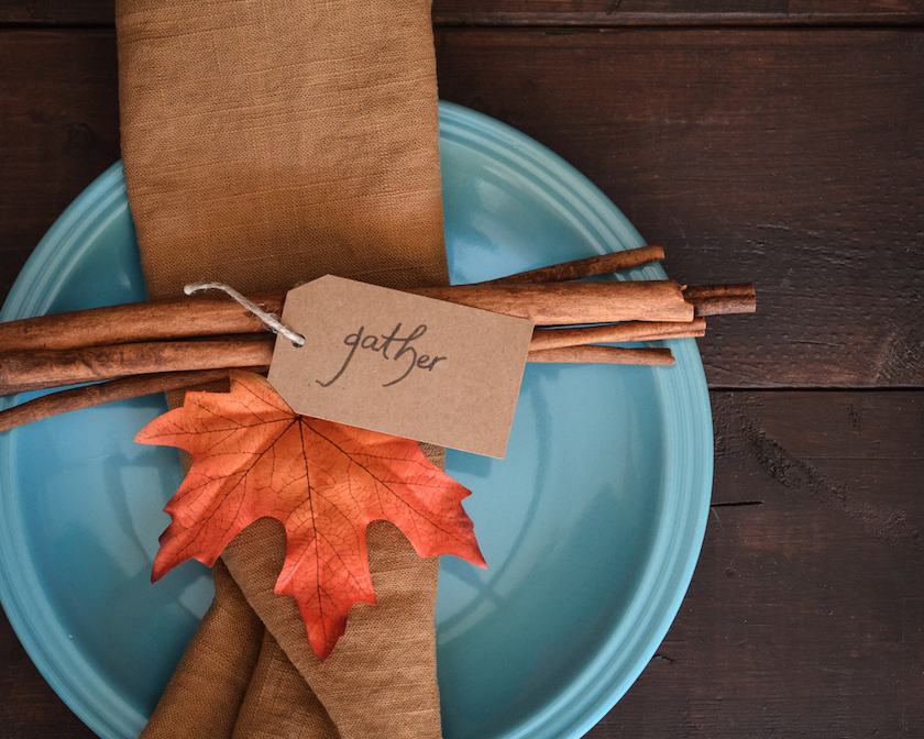 leaves used at place setting with cinnamon bark
